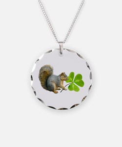 Shamrock Squirrel Necklace Circle Charm