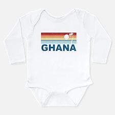 Retro Palm Tree Ghana Long Sleeve Infant Bodysuit