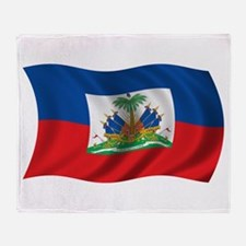 Wavy Haiti Flag Throw Blanket
