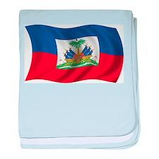 Wavy Haiti Flag baby blanket
