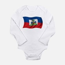 Wavy Haiti Flag Long Sleeve Infant Bodysuit