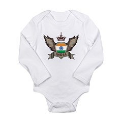 India Emblem Long Sleeve Infant Bodysuit