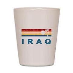 Retro Palm Tree Iraq Shot Glass