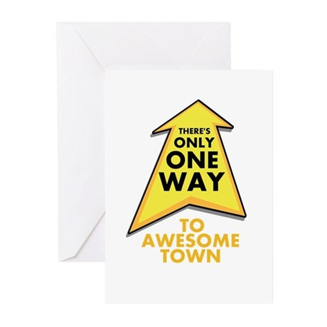 One Way to Awesome Town Greeting Cards (Pk of 20)
