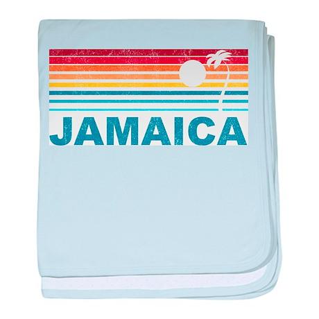 Retro Jamaica Palm Tree baby blanket