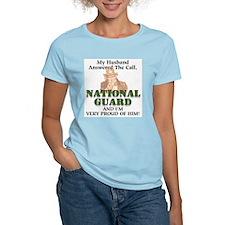 National Guard Husband Women's Pink T-Shirt