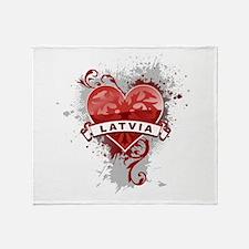 Heart Latvia Throw Blanket