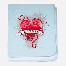 Heart Latvia baby blanket