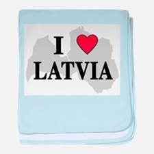 I Love Latvia baby blanket