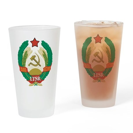 Lithuanian SSR Coat Of Arms Pint Glass