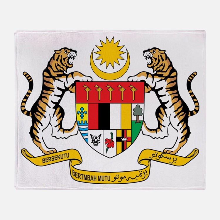 Malaysia Coat Of Arms Throw Blanket