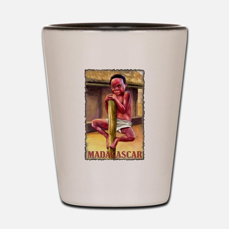 Vintage Madagascar Art Shot Glass