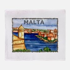 Vintage Malta Art Throw Blanket