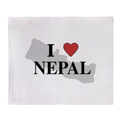 I Love Nepal Throw Blanket