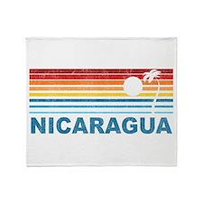 Retro Nicaragua Palm Tree Throw Blanket