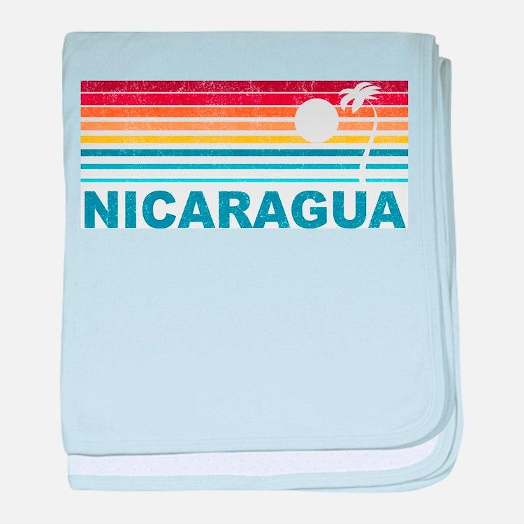 Retro Nicaragua Palm Tree baby blanket