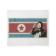 Vintage North Korea Throw Blanket