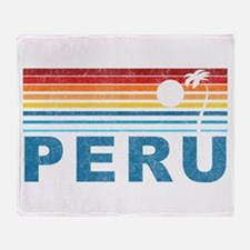 Retro Peru Palm Tree Throw Blanket