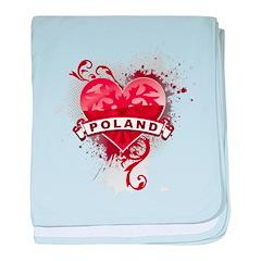 Heart Poland baby blanket