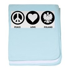 Peace Love Poland baby blanket