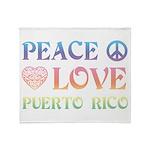 Peace Love Puerto Rico Throw Blanket