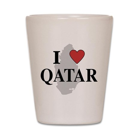 I Love Qatar Shot Glass