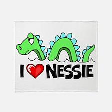 I Love Nessie Throw Blanket