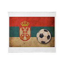 Vintage Serbia Football Throw Blanket