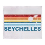 Retro Palm Tree Seychelles Throw Blanket