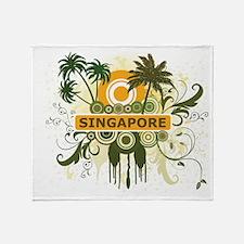 Palm Tree Singapore Throw Blanket