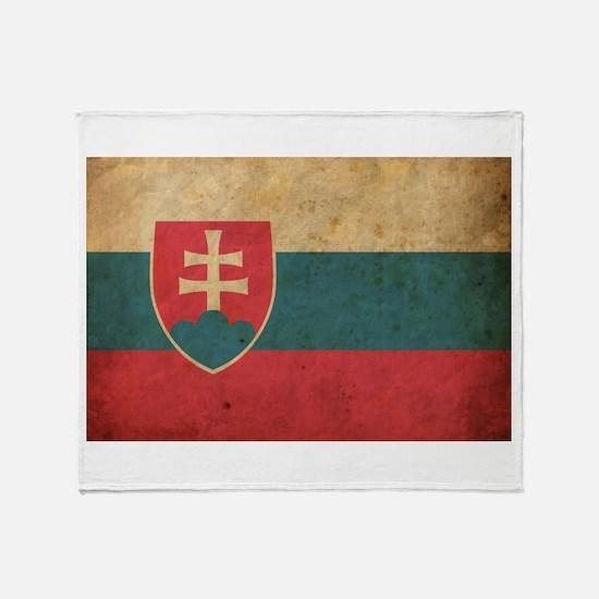 Vintage Slovakia Flag Throw Blanket