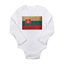 Vintage Slovakia Flag Long Sleeve Infant Bodysuit