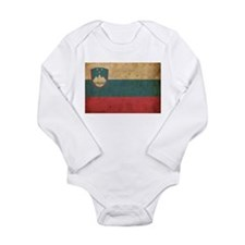 Vintage Slovenia Flag Long Sleeve Infant Bodysuit
