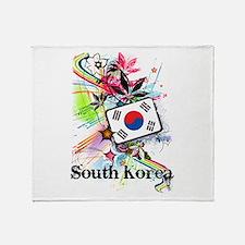 Flower South Korea Throw Blanket