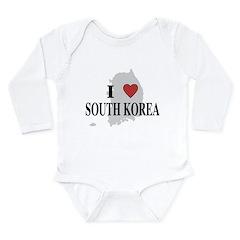I Love South Korea Long Sleeve Infant Bodysuit