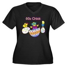 80's Chicks T-Shirts Women's Plus Size V-Neck BLK