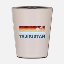 Retro Palm Tree Tajikistan Shot Glass