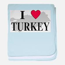 I Love Turkey baby blanket