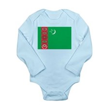 Turkmenistan Flag Long Sleeve Infant Bodysuit
