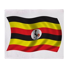 Wavy Uganda Flag Throw Blanket