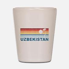 Retro Palm Tree Uzbekistan Shot Glass