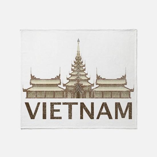 Vintage Vietnam Temple Throw Blanket