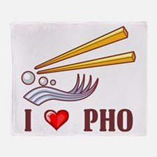 I Love Pho Throw Blanket