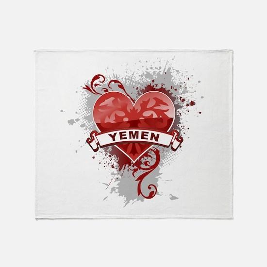 Heart Yemen Throw Blanket
