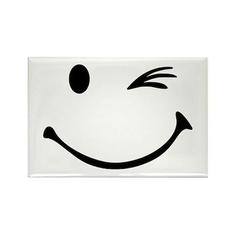 Smiley wink Rectangle Magnet (100 pack)