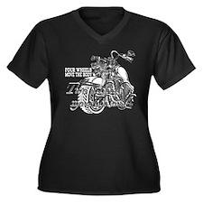 Two wheels Women's Plus Size V-Neck Dark T-Shirt