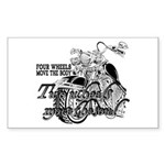 Two wheels move the soul Sticker (Rectangle)