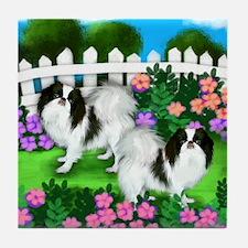 Japanese Chin Dogs Garden Tile Coaster
