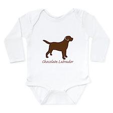Chocolate Labrador Long Sleeve Infant Bodysuit