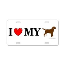 Love My Chocolate Lab Aluminum License Plate